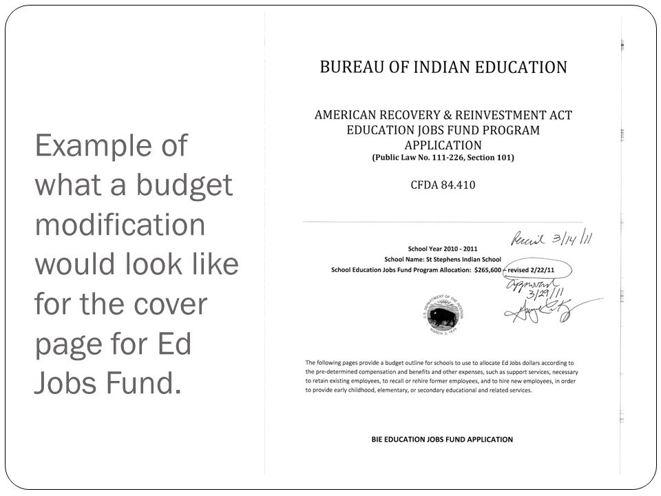 Example of what a budget modification would look like for the cover page for Ed Jobs Fund.