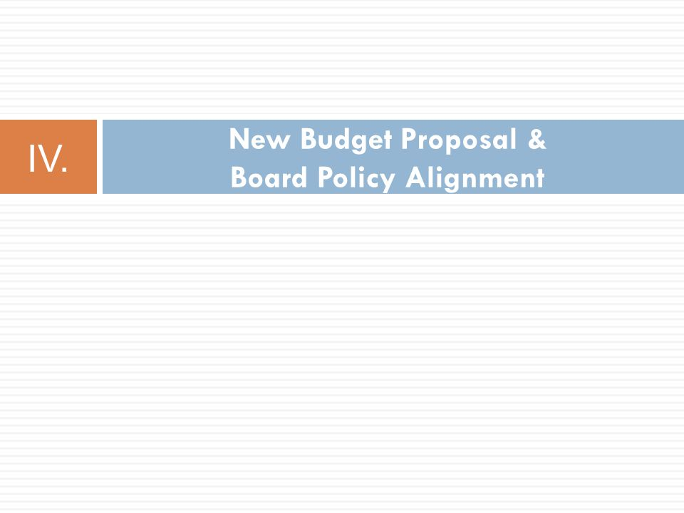 New Budget Proposal & Board Policy Alignment IV.