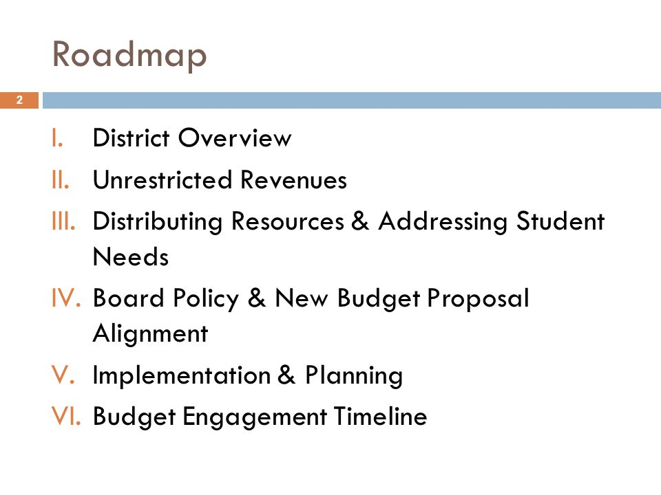 Roadmap I.District Overview II.Unrestricted Revenues III.Distributing Resources & Addressing Student Needs IV.Board Policy & New Budget Proposal Alignment V.Implementation & Planning VI.Budget Engagement Timeline 2