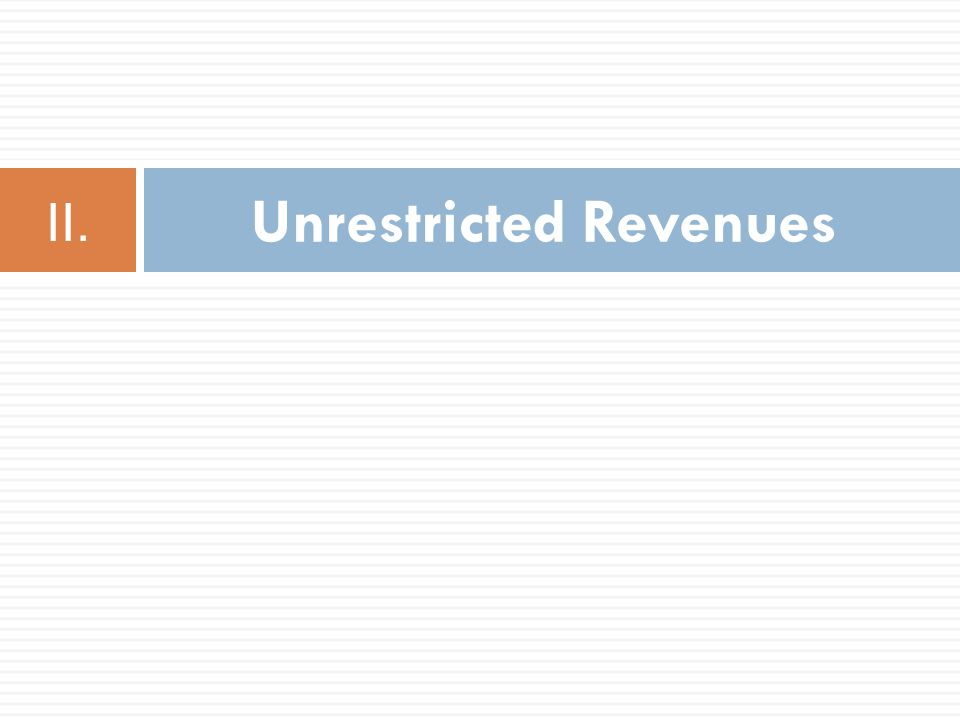 Unrestricted Revenues II.