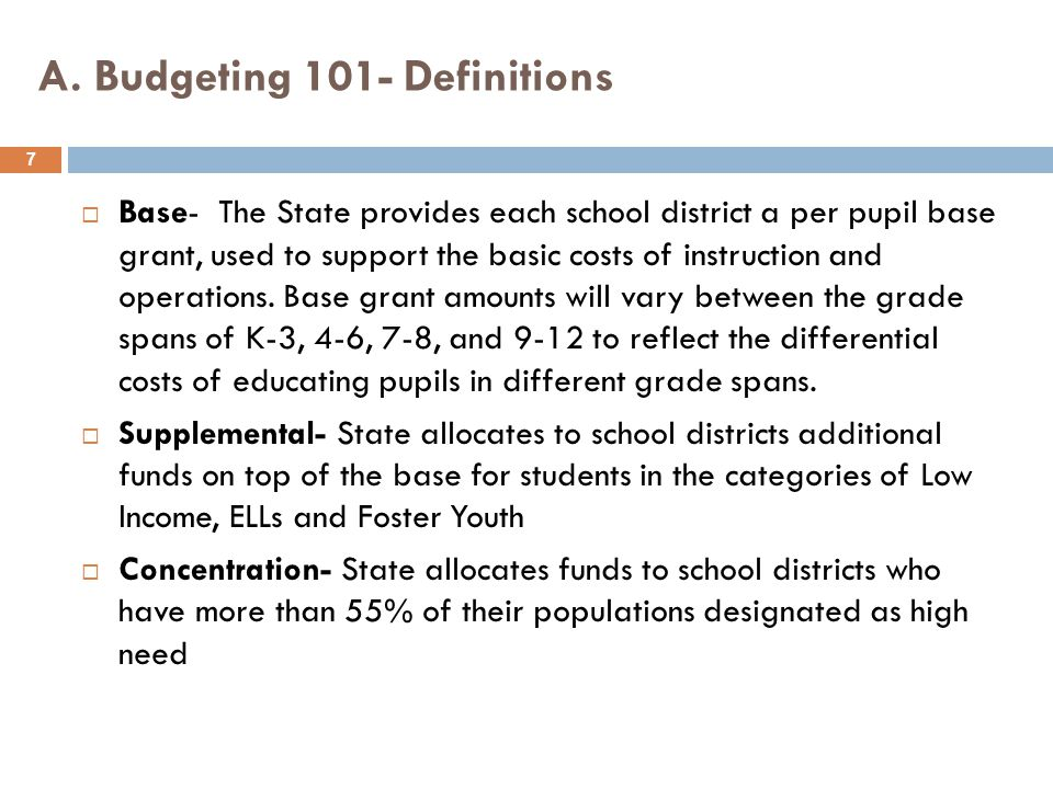 A. Budgeting 101- Definitions  Base- The State provides each school district a per pupil base grant, used to support the basic costs of instruction a