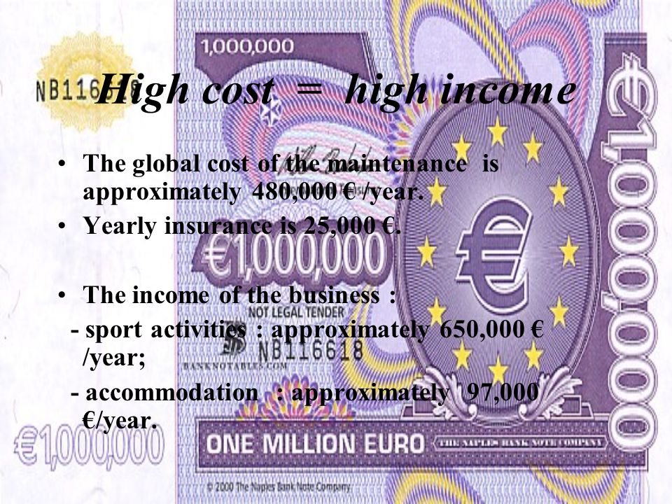 High cost = high income The global cost of the maintenance is approximately 480,000 € /year.