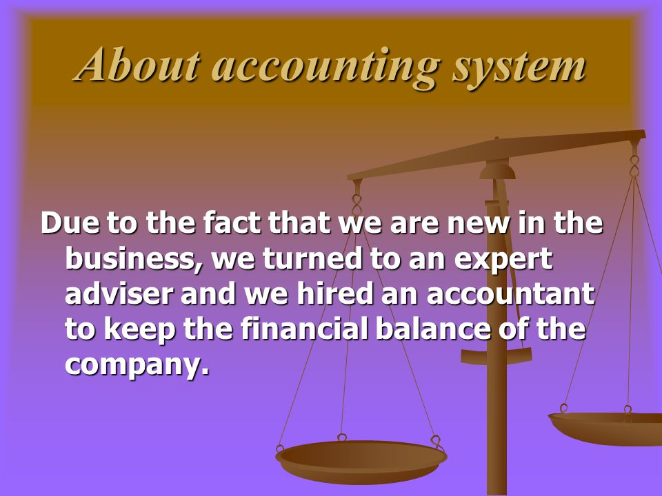 About accounting system Due to the fact that we are new in the business, we turned to an expert adviser and we hired an accountant to keep the financial balance of the company.
