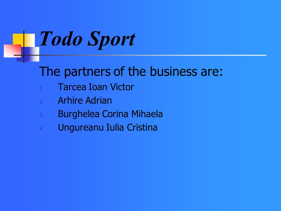 The partners of the business are: 1. Tarcea Ioan Victor 2.