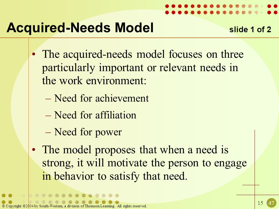 1547 © Copyright ©2004 by South-Western, a division of Thomson Learning. All rights reserved. Acquired-Needs Model slide 1 of 2 The acquired-needs mod