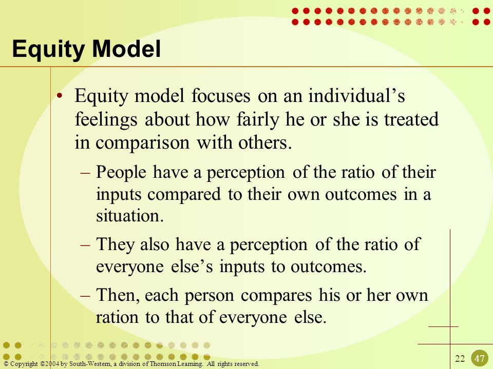 2247 © Copyright ©2004 by South-Western, a division of Thomson Learning. All rights reserved. Equity Model Equity model focuses on an individual's fee