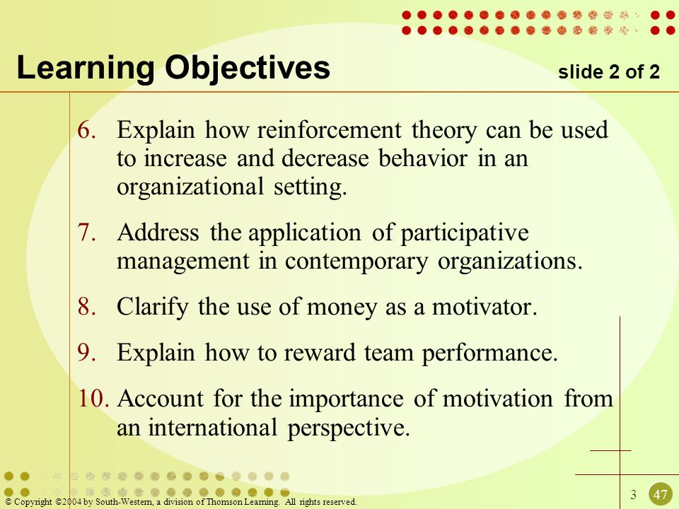 347 © Copyright ©2004 by South-Western, a division of Thomson Learning. All rights reserved. Learning Objectives slide 2 of 2 6.Explain how reinforcem