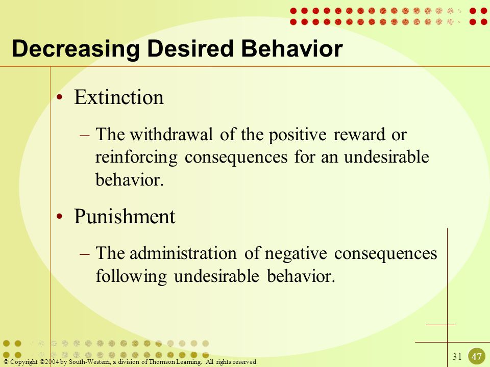 3147 © Copyright ©2004 by South-Western, a division of Thomson Learning. All rights reserved. Decreasing Desired Behavior Extinction –The withdrawal o