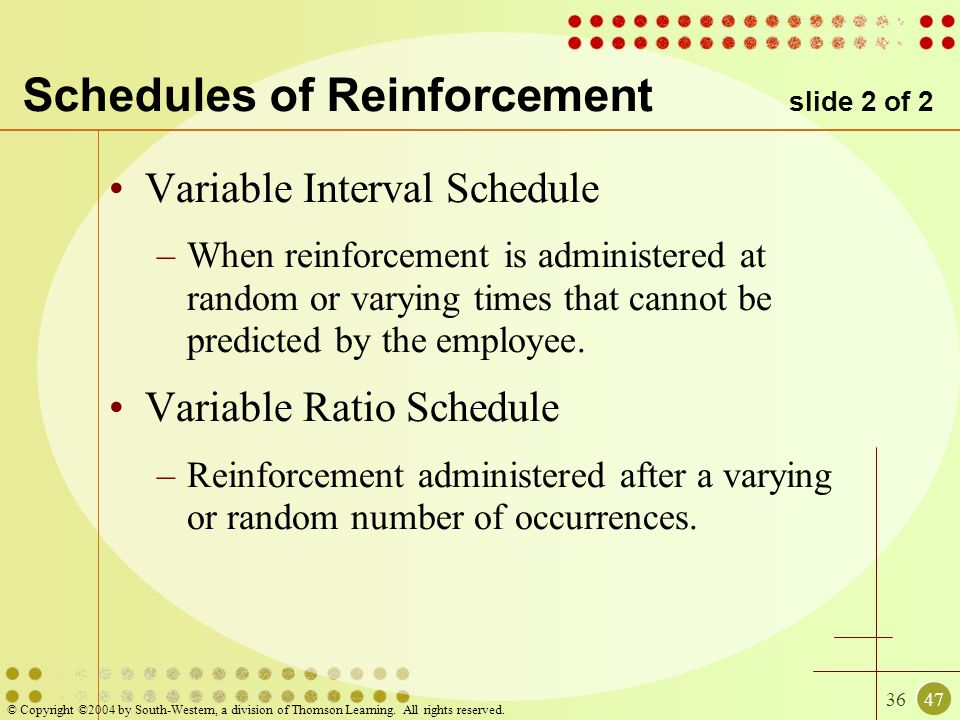 3647 © Copyright ©2004 by South-Western, a division of Thomson Learning. All rights reserved. Schedules of Reinforcement slide 2 of 2 Variable Interva