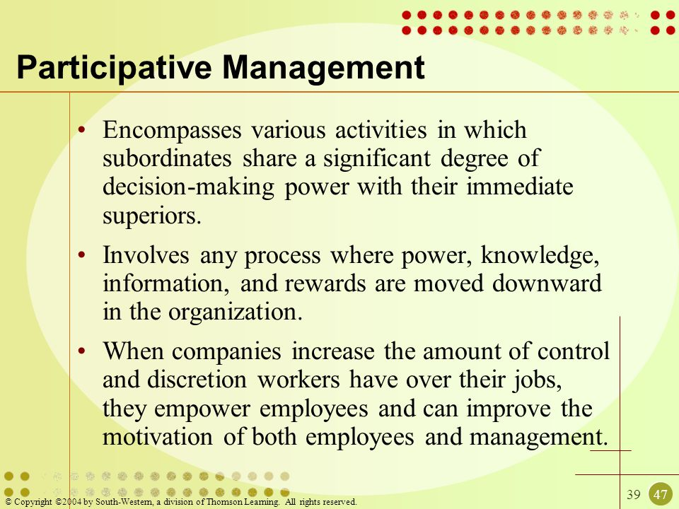 3947 © Copyright ©2004 by South-Western, a division of Thomson Learning. All rights reserved. Participative Management Encompasses various activities