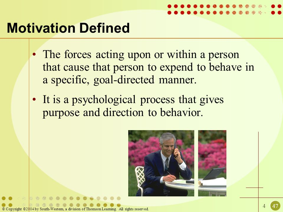 447 © Copyright ©2004 by South-Western, a division of Thomson Learning. All rights reserved. Motivation Defined The forces acting upon or within a per