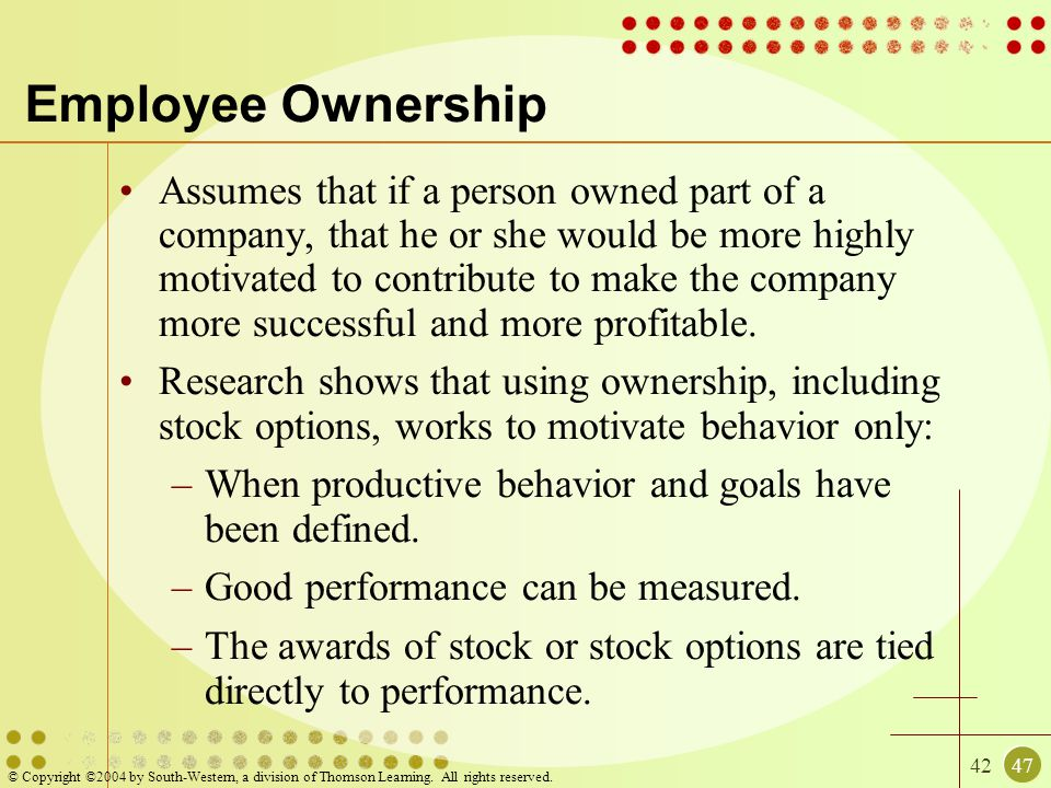 4247 © Copyright ©2004 by South-Western, a division of Thomson Learning. All rights reserved. Employee Ownership Assumes that if a person owned part o