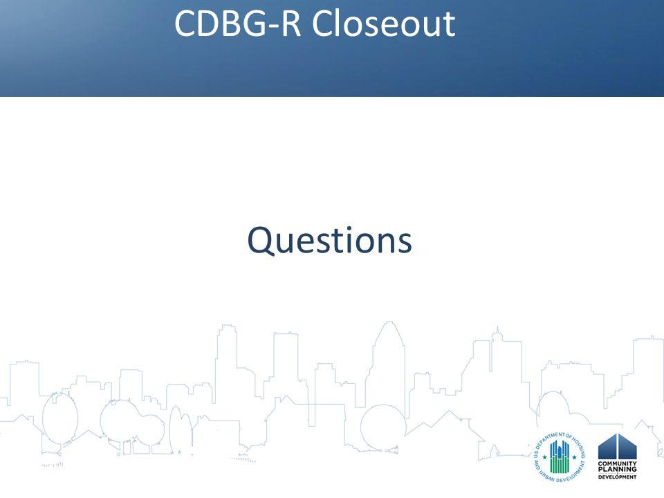 CDBG-R Closeout Questions