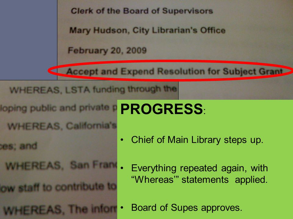 PROGRESS : Chief of Main Library steps up.