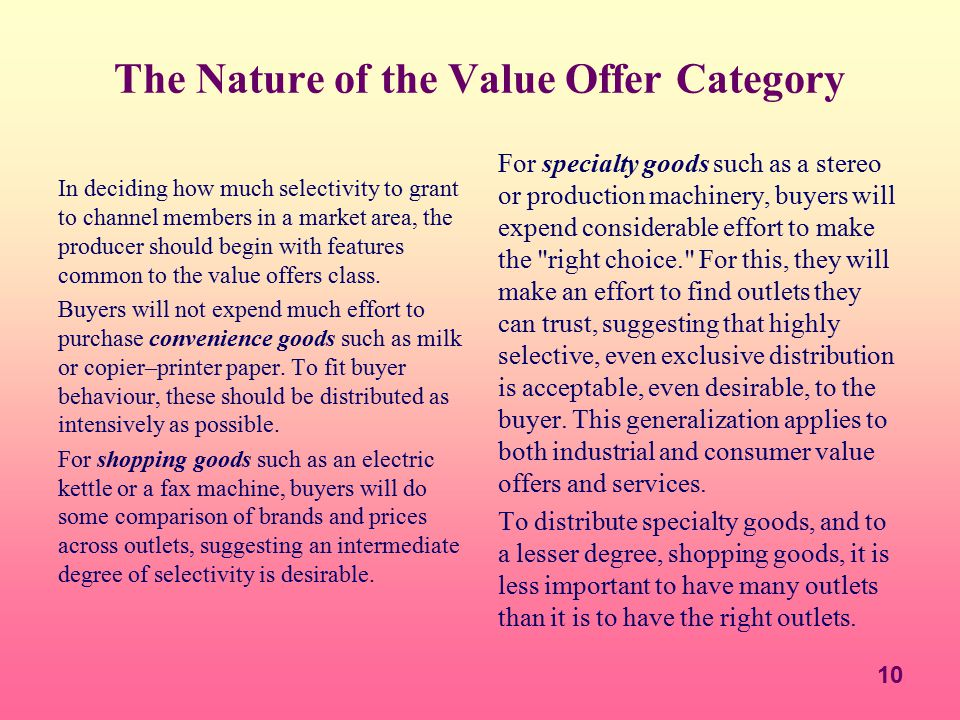 10 The Nature of the Value Offer Category In deciding how much selectivity to grant to channel members in a market area, the producer should begin wit