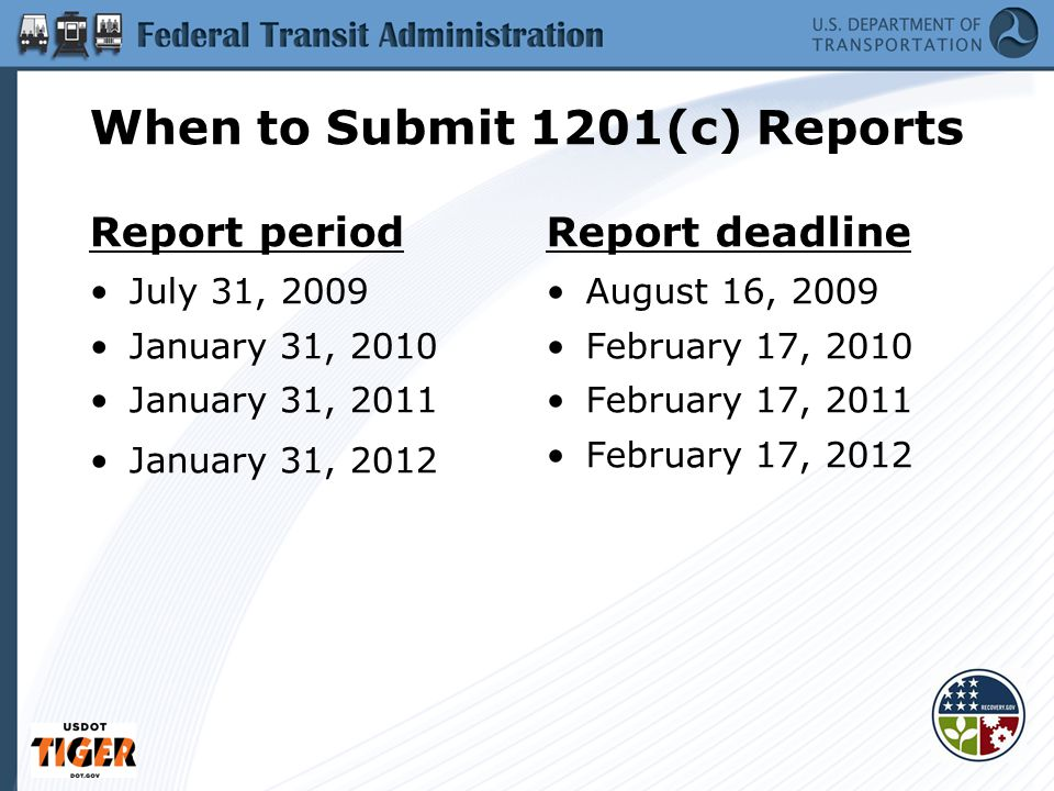 When to Submit 1201(c) Reports Report period July 31, 2009 January 31, 2010 January 31, 2011 January 31, 2012 Report deadline August 16, 2009 February