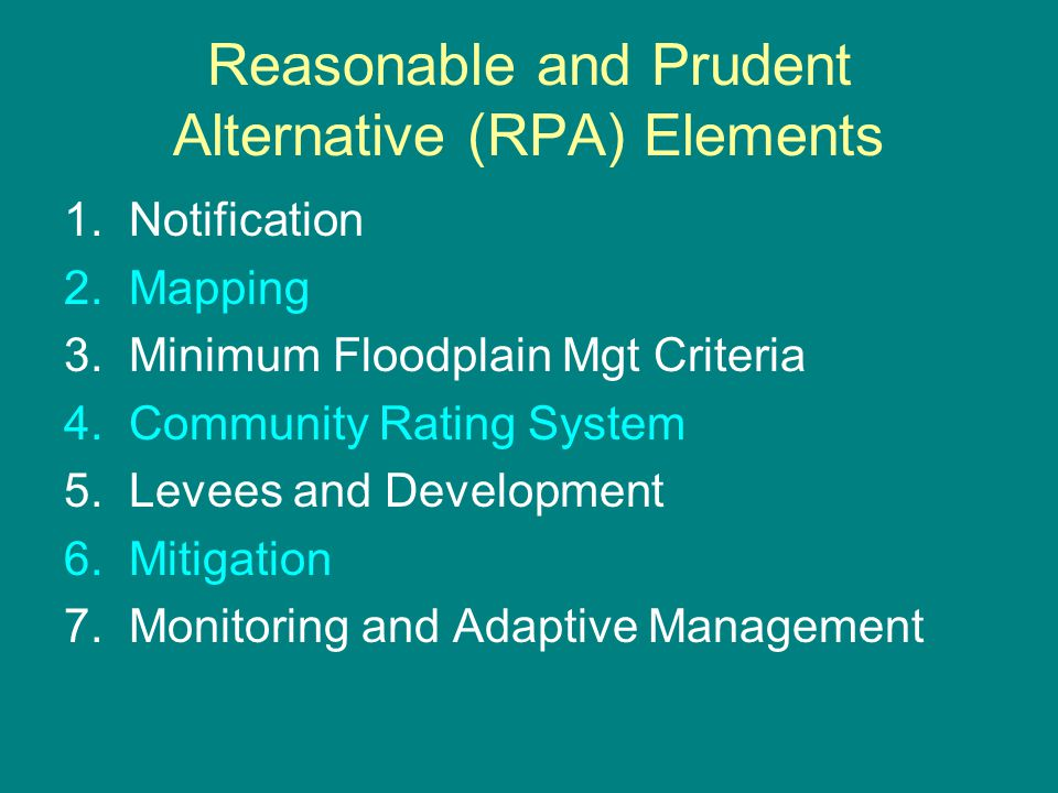 Reasonable and Prudent Alternative (RPA) Elements 1.