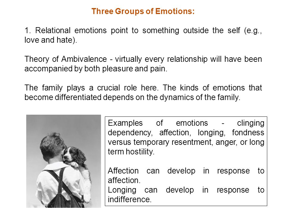 Three Groups of Emotions: 1.