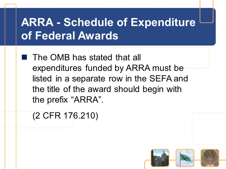 ARRA - Schedule of Expenditure of Federal Awards The OMB has stated that all expenditures funded by ARRA must be listed in a separate row in the SEFA and the title of the award should begin with the prefix ARRA .