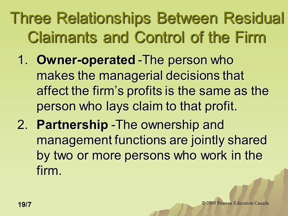 © 2009 Pearson Education Canada 19/18 Figure 19.6 The owner-operated firm