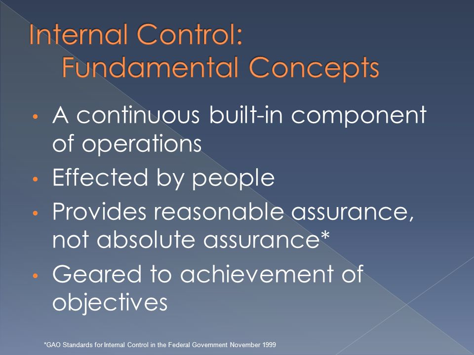 A continuous built-in component of operations Effected by people Provides reasonable assurance, not absolute assurance* Geared to achievement of objectives *GAO Standards for Internal Control in the Federal Government November 1999