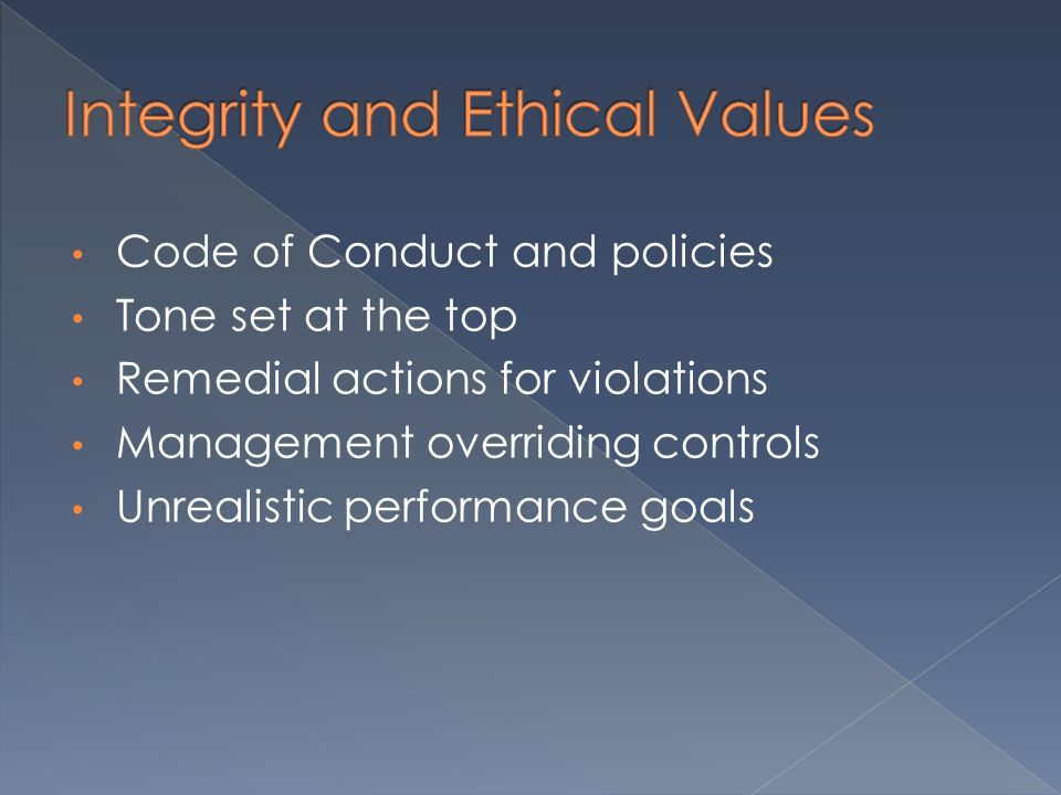 Code of Conduct and policies Tone set at the top Remedial actions for violations Management overriding controls Unrealistic performance goals
