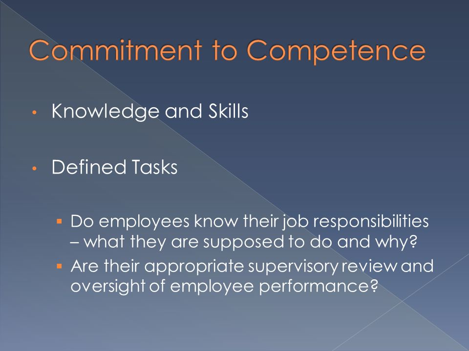 Knowledge and Skills Defined Tasks  Do employees know their job responsibilities – what they are supposed to do and why.