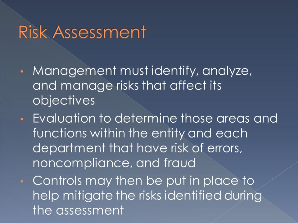 Management must identify, analyze, and manage risks that affect its objectives Evaluation to determine those areas and functions within the entity and each department that have risk of errors, noncompliance, and fraud Controls may then be put in place to help mitigate the risks identified during the assessment