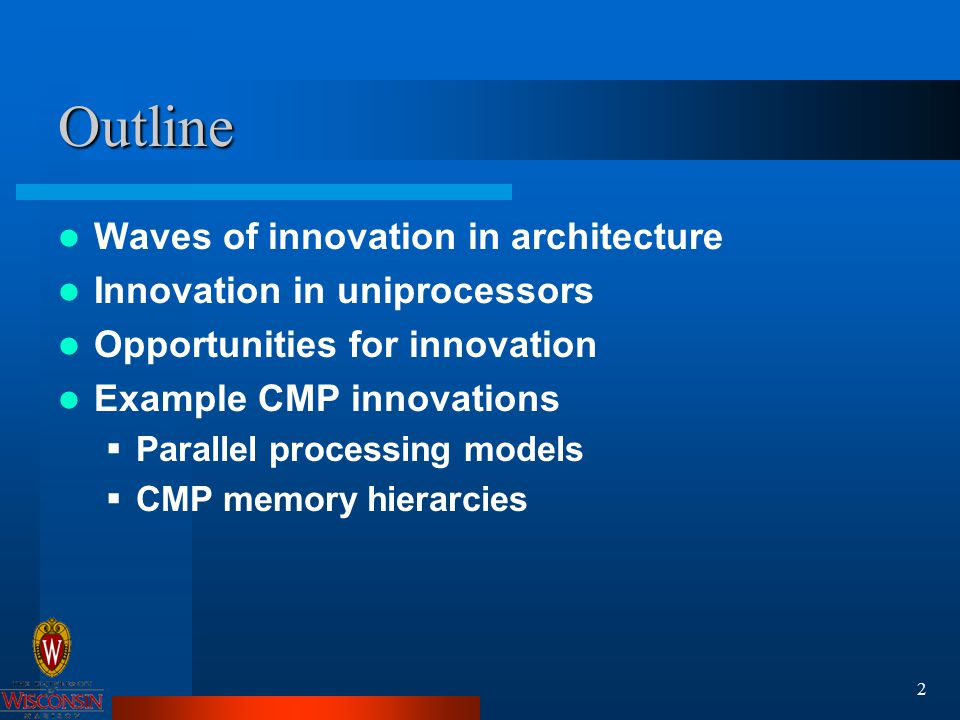 3 Waves of Research and Innovation A new direction is proposed or new opportunity becomes available The center of gravity of the research community shifts to that direction  SIMD architectures in the 1960s  HLL computer architectures in the 1970s  RISC architectures in the early 1980s  Shared-memory MPs in the late 1980s  OOO speculative execution processors in the 1990s