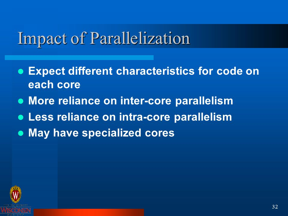 32 Impact of Parallelization Expect different characteristics for code on each core More reliance on inter-core parallelism Less reliance on intra-core parallelism May have specialized cores