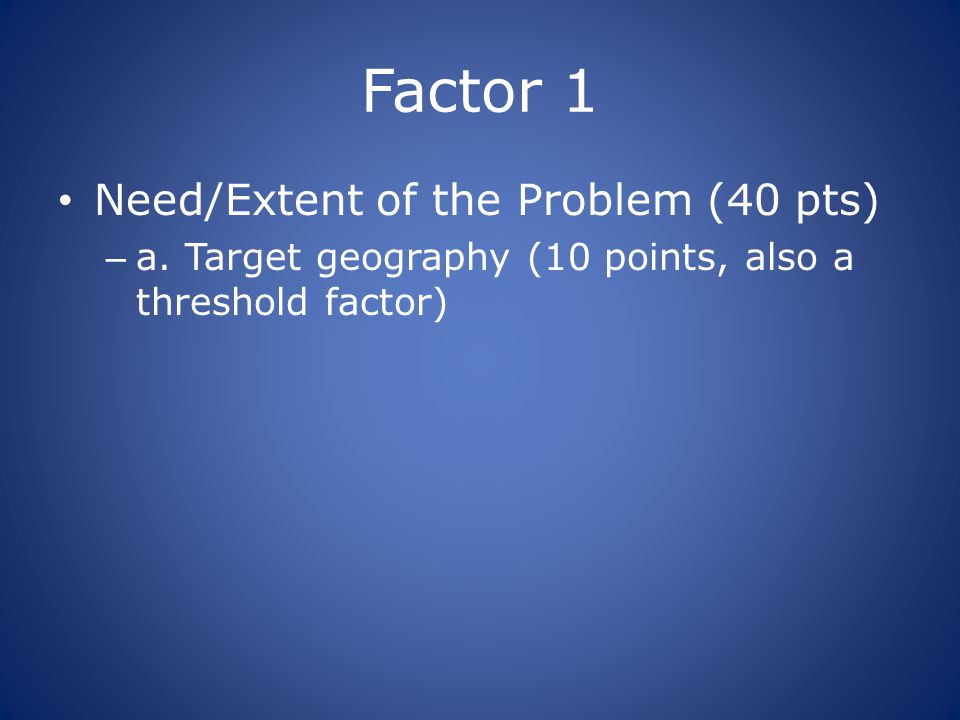 Factor 1 Need/Extent of the Problem (40 pts) – a.