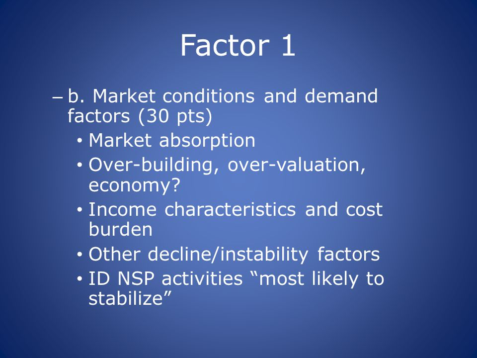 Factor 1 – b. Market conditions and demand factors (30 pts) Market absorption Over-building, over-valuation, economy? Income characteristics and cost