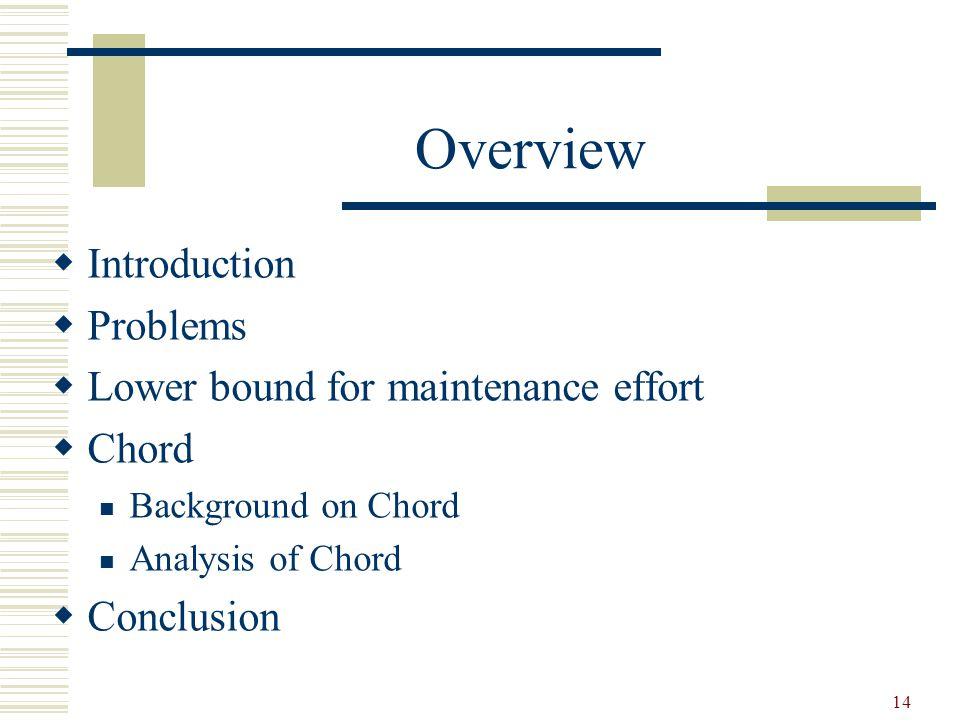 14 Overview  Introduction  Problems  Lower bound for maintenance effort  Chord Background on Chord Analysis of Chord  Conclusion