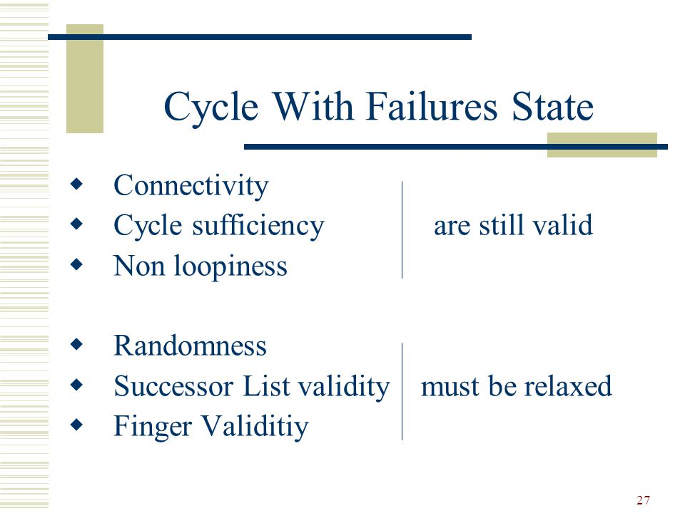 27 Cycle With Failures State  Connectivity  Cycle sufficiency are still valid  Non loopiness  Randomness  Successor List validity must be relaxed  Finger Validitiy