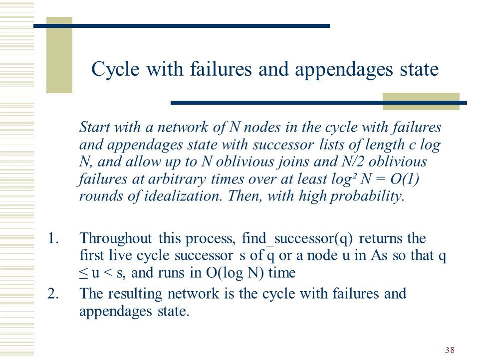 38 Cycle with failures and appendages state Start with a network of N nodes in the cycle with failures and appendages state with successor lists of length c log N, and allow up to N oblivious joins and N/2 oblivious failures at arbitrary times over at least log² N = O(1) rounds of idealization.