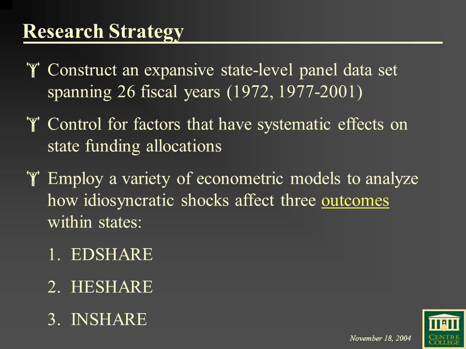 November 18, 2004 Research Strategy  Construct an expansive state-level panel data set spanning 26 fiscal years (1972, 1977-2001)  Control for factors that have systematic effects on state funding allocations  Employ a variety of econometric models to analyze how idiosyncratic shocks affect three outcomes within states:outcomes 1.EDSHARE 2.HESHARE 3.INSHARE