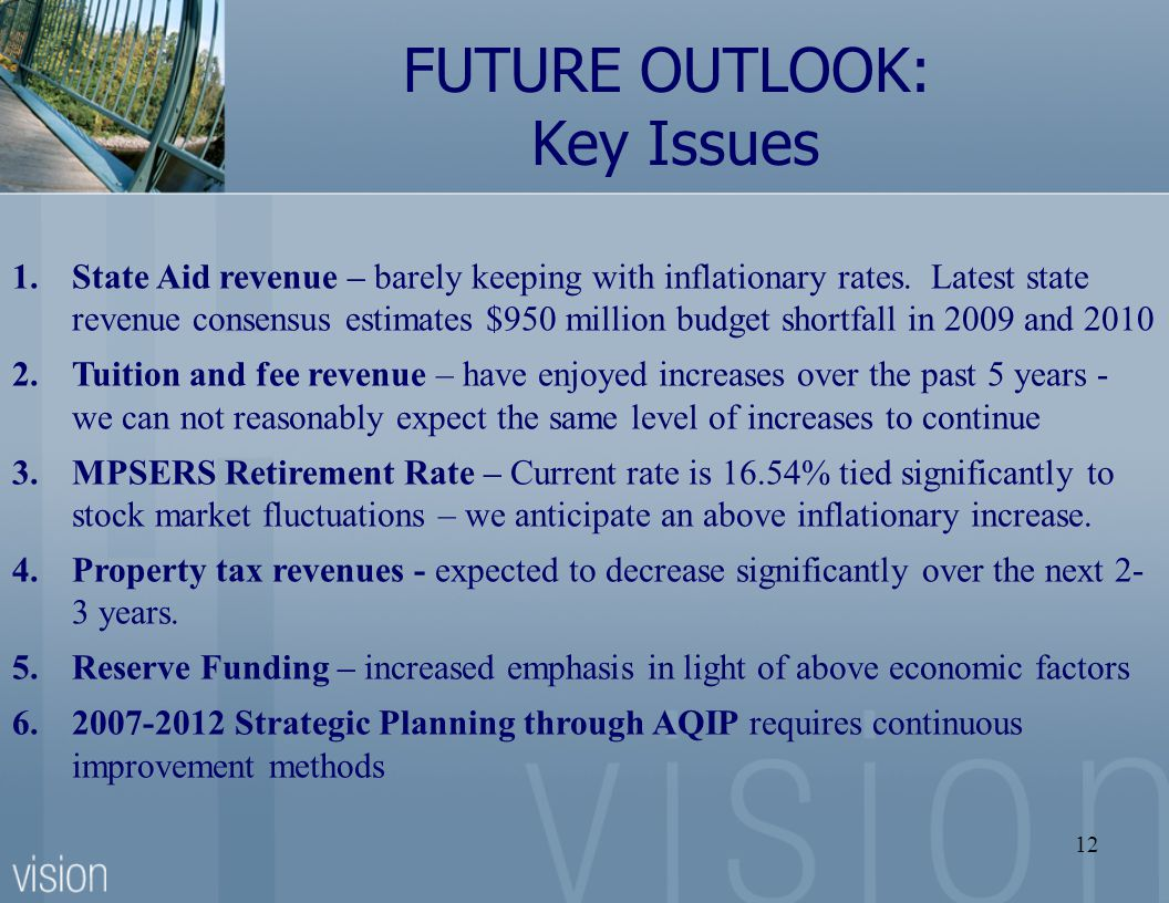12 FUTURE OUTLOOK: Key Issues 1.State Aid revenue – barely keeping with inflationary rates.