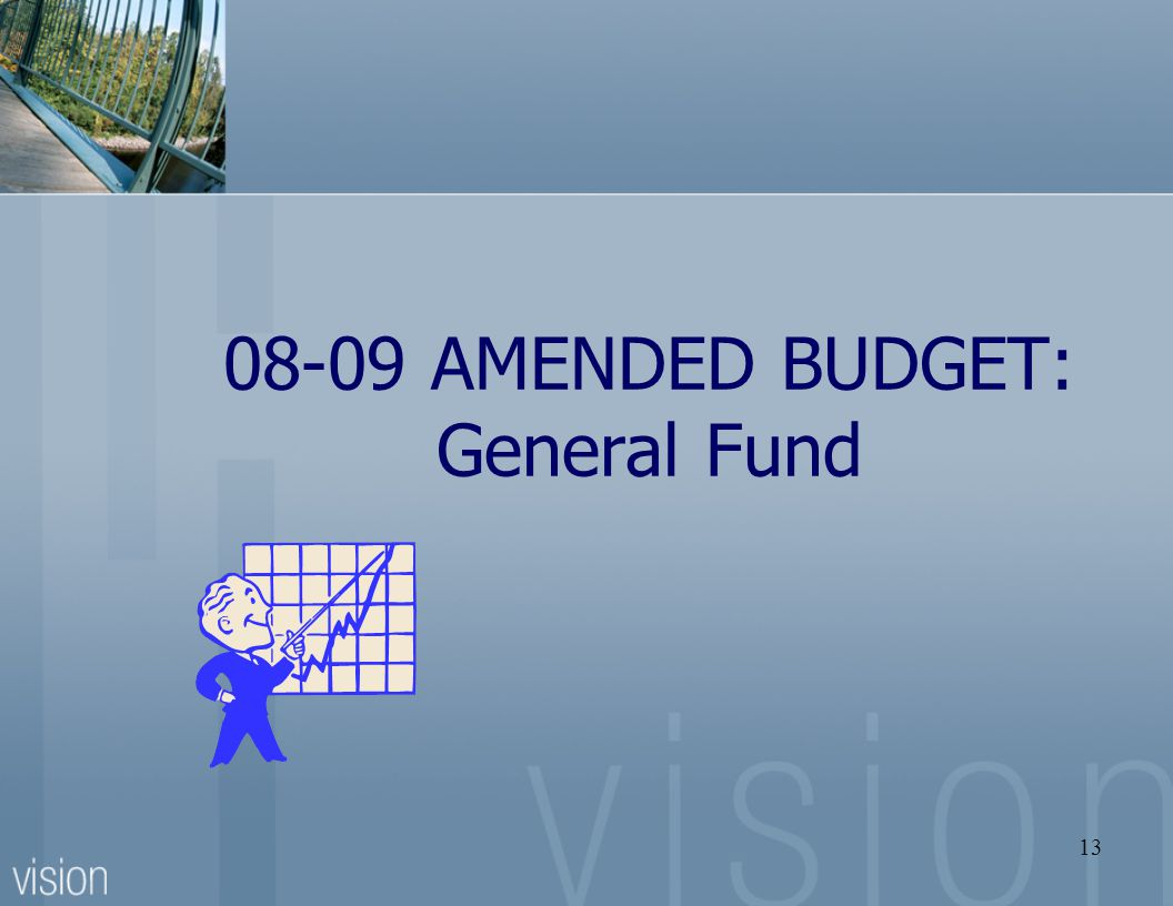 13 08-09 AMENDED BUDGET: General Fund
