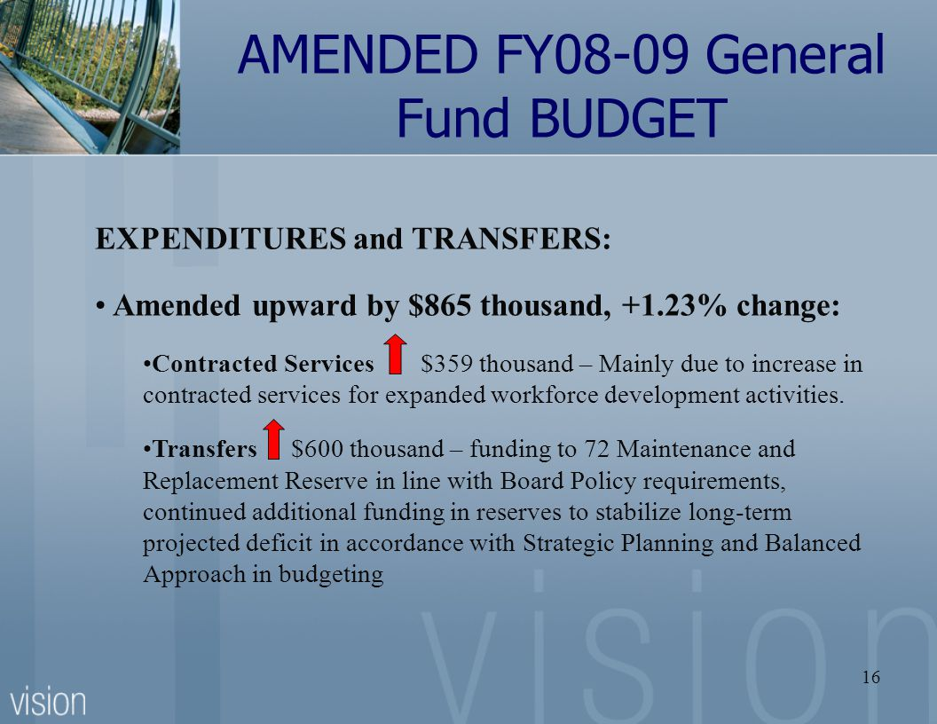 16 AMENDED FY08-09 General Fund BUDGET EXPENDITURES and TRANSFERS: Amended upward by $865 thousand, +1.23% change: Contracted Services $359 thousand – Mainly due to increase in contracted services for expanded workforce development activities.