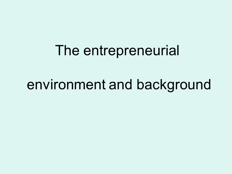 The entrepreneurial environment and background