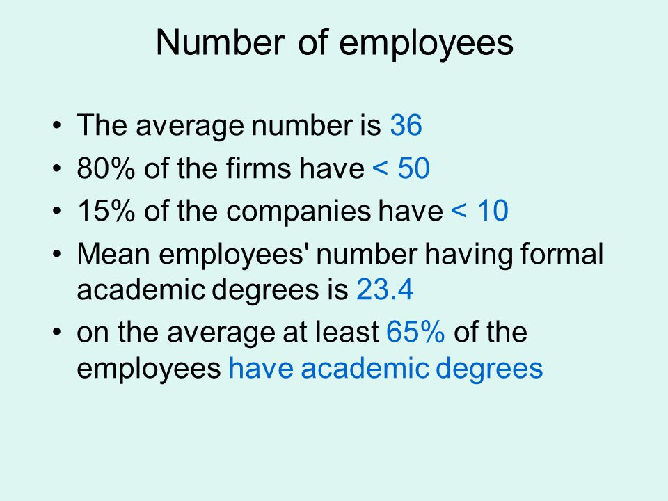 Number of employees The average number is 36 80% of the firms have < 50 15% of the companies have < 10 Mean employees number having formal academic degrees is 23.4 on the average at least 65% of the employees have academic degrees