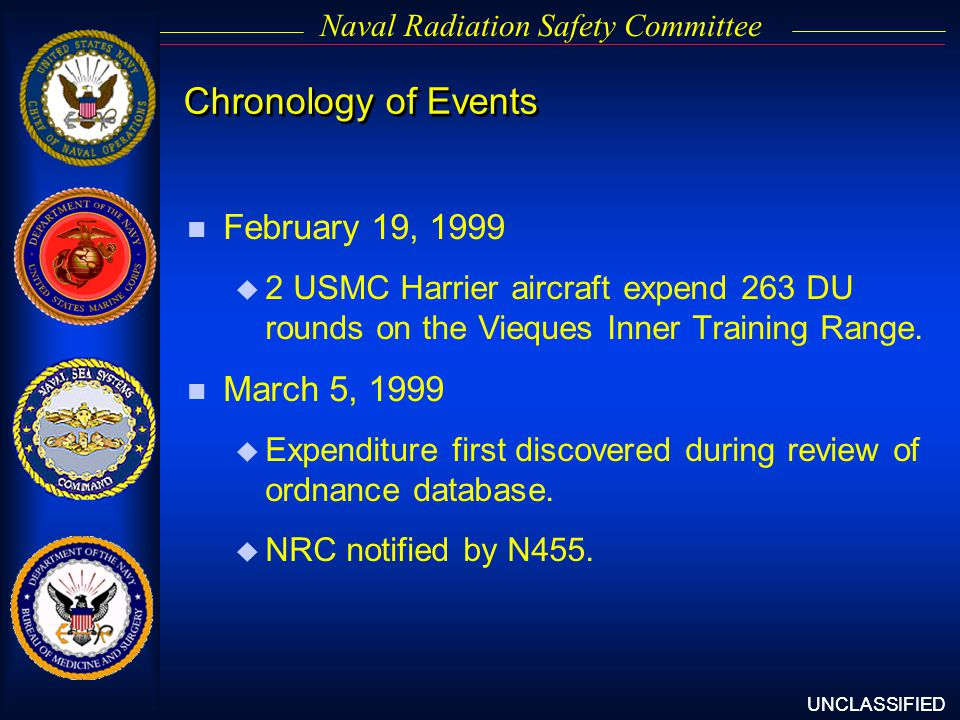 UNCLASSIFIED Naval Radiation Safety Committee n February 19, 1999 u 2 USMC Harrier aircraft expend 263 DU rounds on the Vieques Inner Training Range.