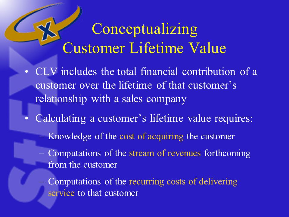 Conceptualizing Customer Lifetime Value CLV includes the total financial contribution of a customer over the lifetime of that customer's relationship with a sales company Calculating a customer's lifetime value requires: –Knowledge of the cost of acquiring the customer –Computations of the stream of revenues forthcoming from the customer –Computations of the recurring costs of delivering service to that customer