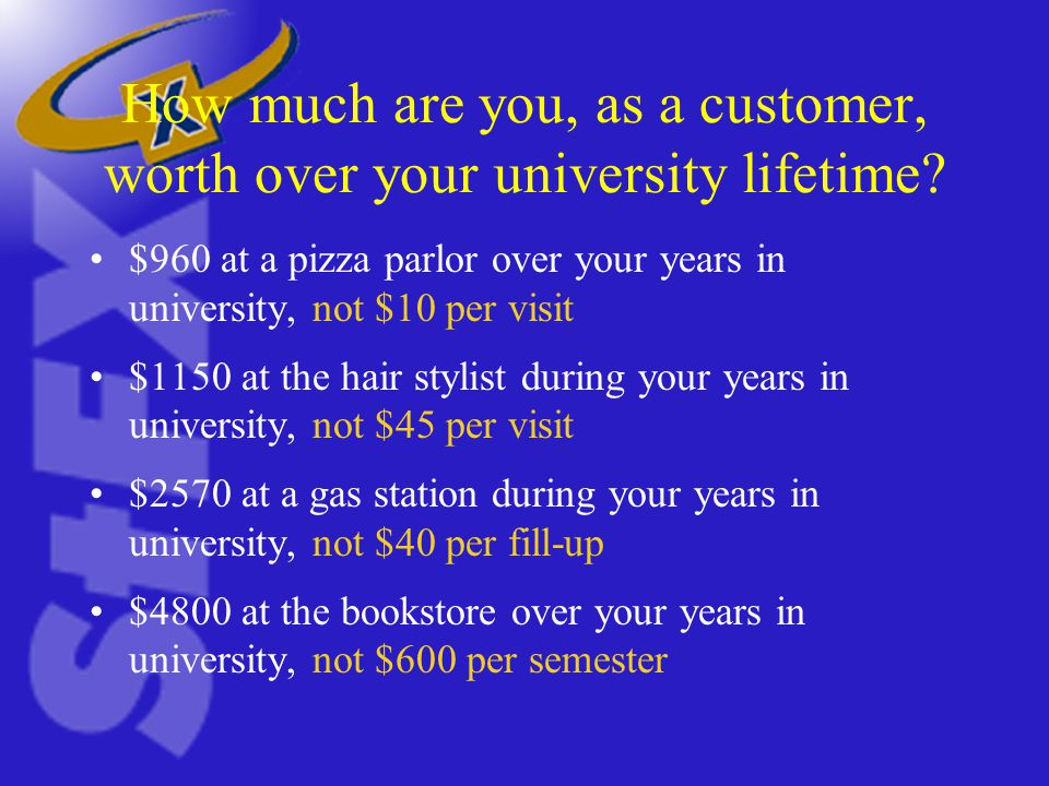 How much are you, as a customer, worth over your university lifetime.