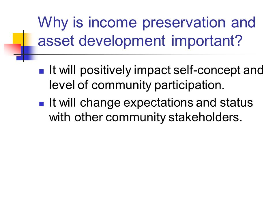 Why is income preservation and asset development important.