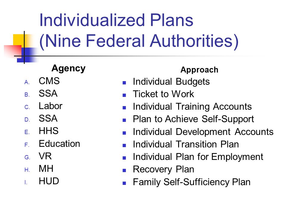 Individualized Plans (Nine Federal Authorities) Agency A.