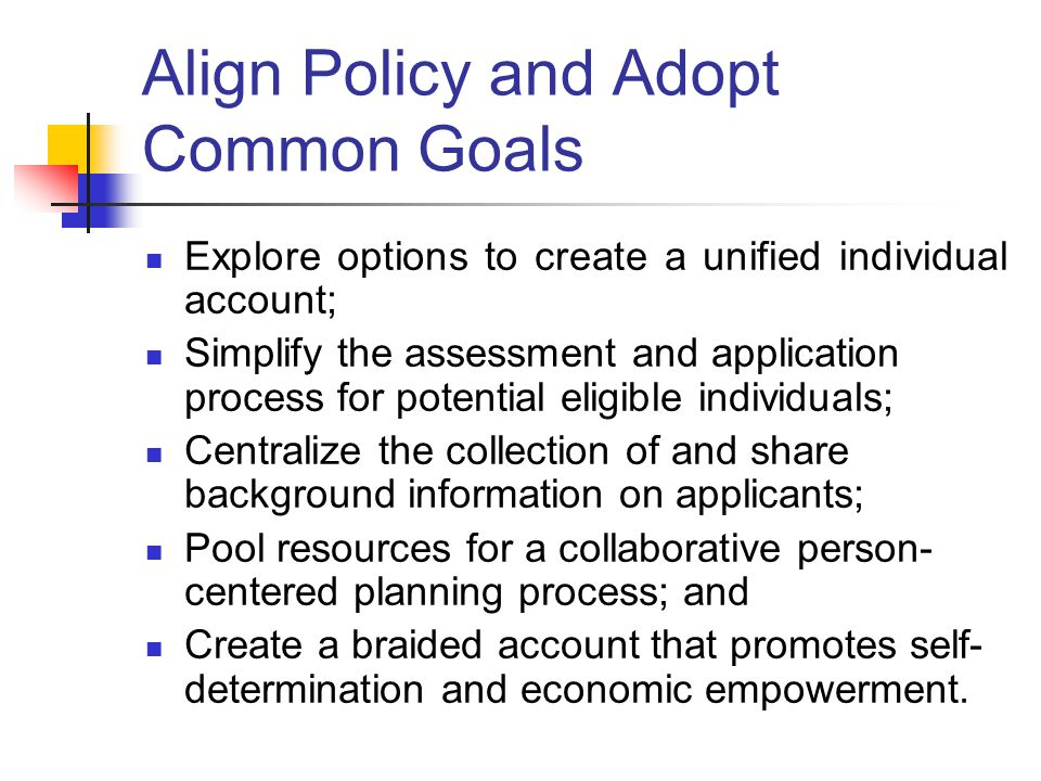 Align Policy and Adopt Common Goals Explore options to create a unified individual account; Simplify the assessment and application process for potential eligible individuals; Centralize the collection of and share background information on applicants; Pool resources for a collaborative person- centered planning process; and Create a braided account that promotes self- determination and economic empowerment.