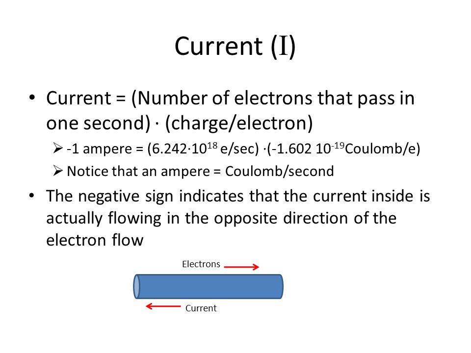 Current ( I ) Current = (Number of electrons that pass in one second) ∙ (charge/electron)  -1 ampere = (6.242∙10 18 e/sec) ∙(-1.602 10 -19 Coulomb/e)