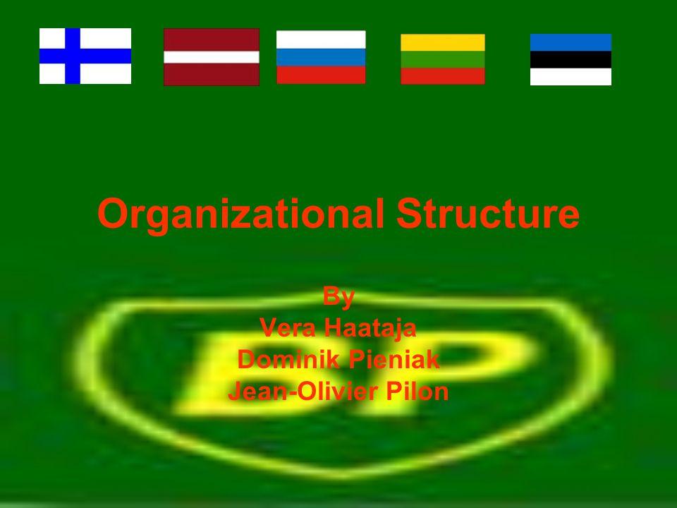 Organizational Structure By Vera Haataja Dominik Pieniak Jean-Olivier Pilon