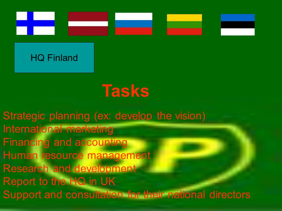HQ Finland Strategic planning (ex: develop the vision) International marketing Financing and accounting Human resource management Research and develop